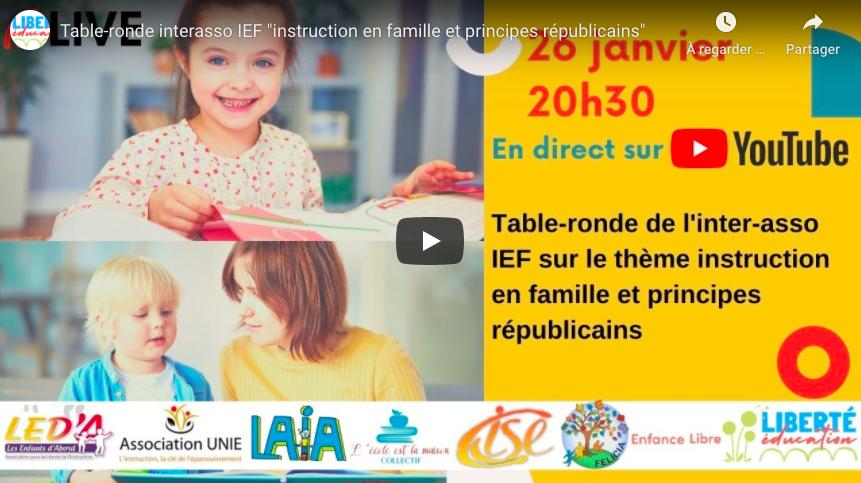 Table ronde avec l'interasso IEF le 26 janvier à 20h30 en direct sur Youtube