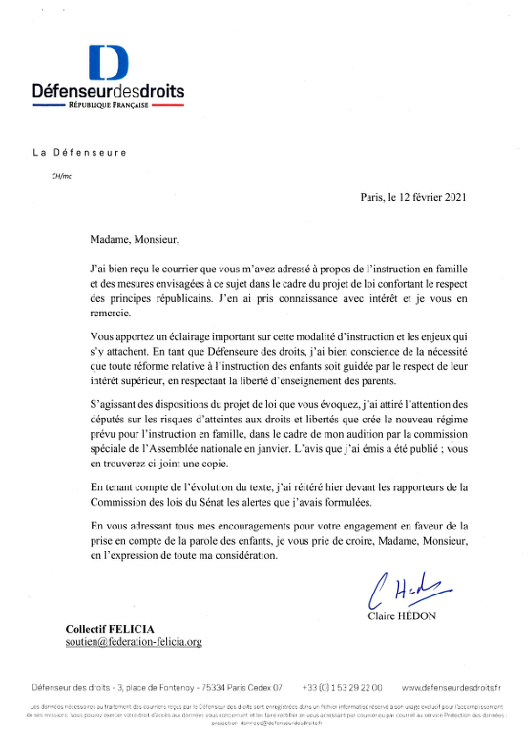 reponse rapporteure droits felicia