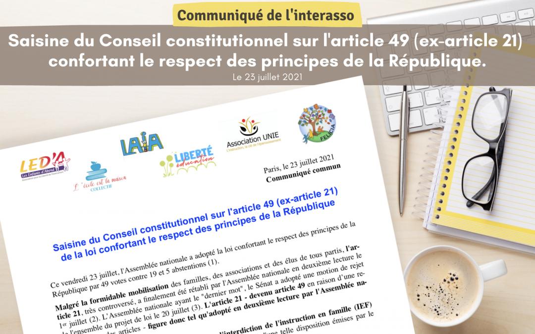 Communiqué interasso IEF – Saisi Conseil Constitutionnel
